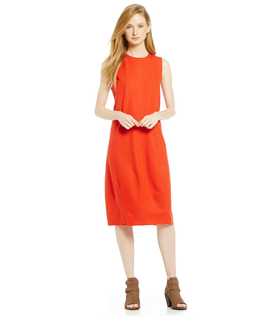 Eileen Fisher Round Neck Knee-Length Wool Dress