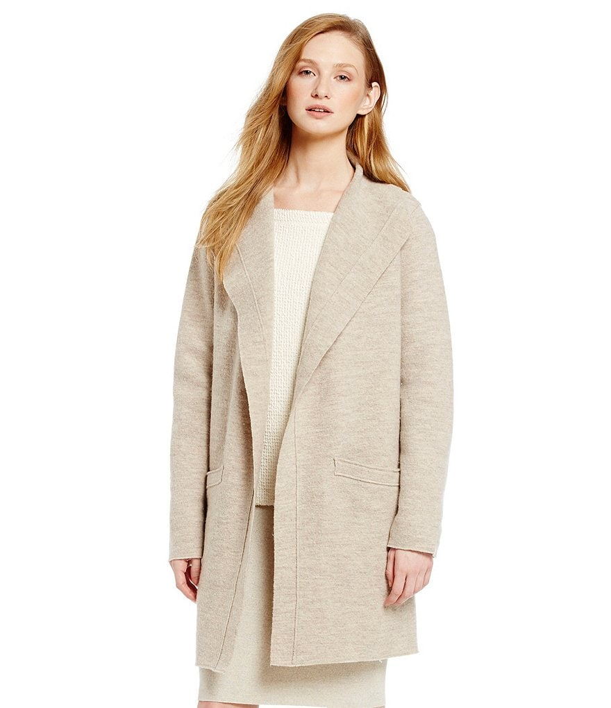 Eileen Fisher Funnel Neck Wool Coat