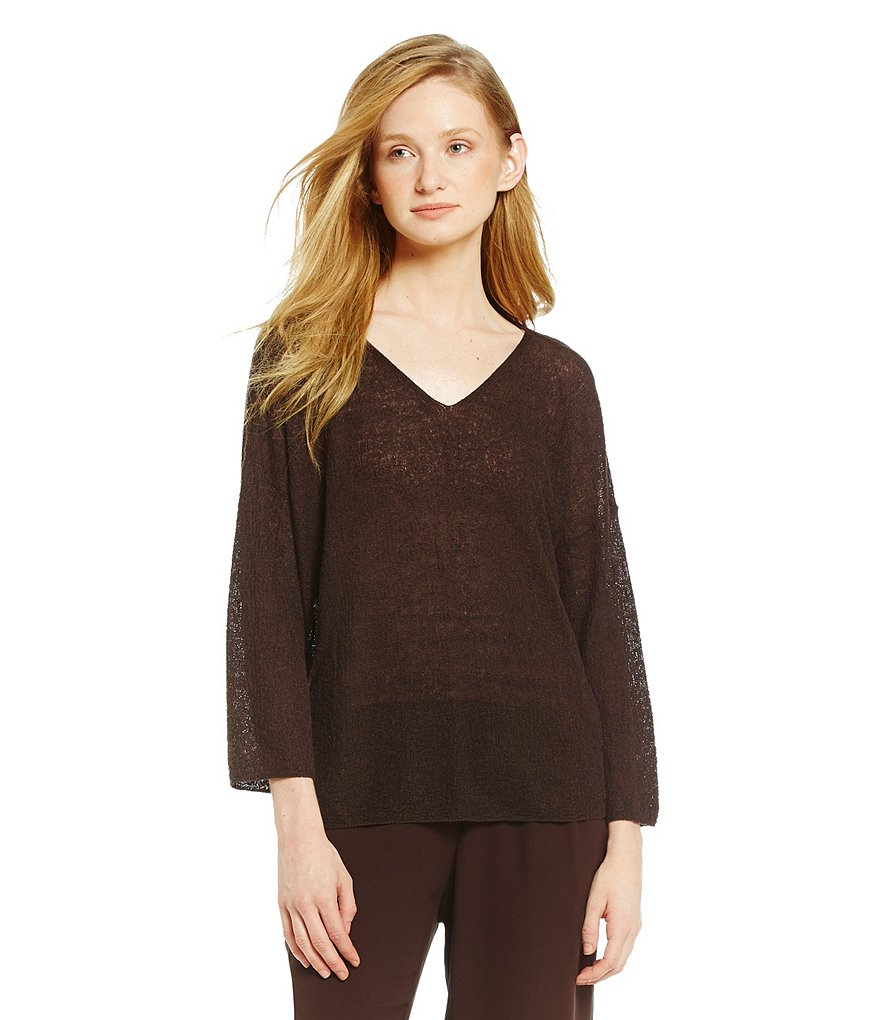 Eileen Fisher V-Neck 3/4 Sleeve Organic Linen Top