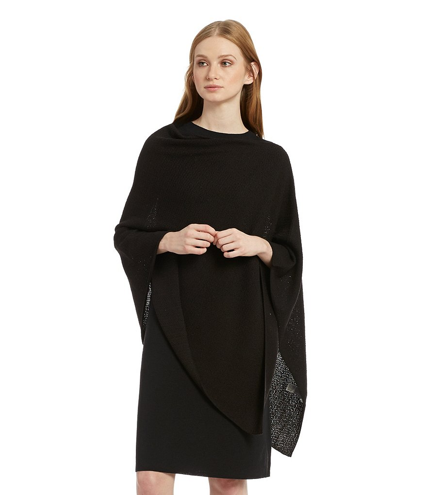 Eileen Fisher Wool Crepe Jacquard Poncho