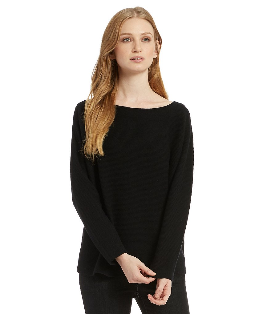 Eileen Fisher Bateau Neck Long Sleeve Cashmere Chunky Box Top