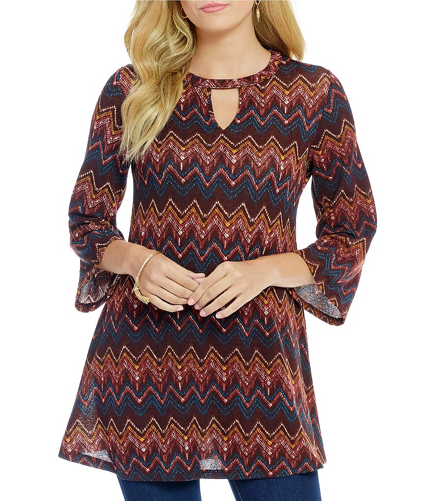 Bobeau 3/4 Bell Sleeve Chevron Print Bar-Neck Knit Top