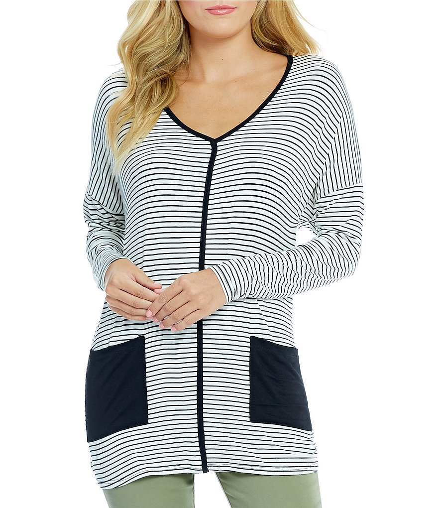 Bobeau Dolman Sleeve Stripe Print Pipping Top with Pockets