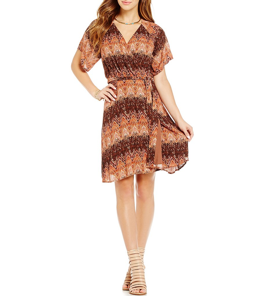 Miss Me V-Neck Printed Faux-Suede Chevron Mixed Media Wrap Dress