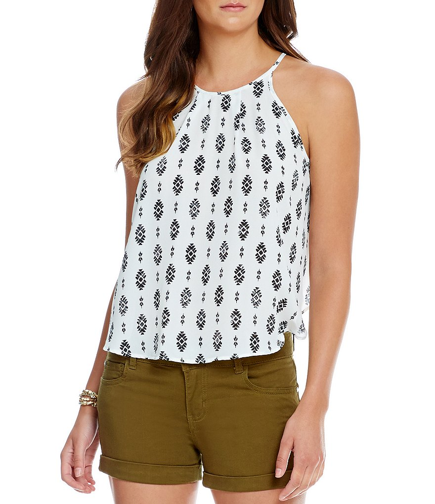 Soprano High-Neck Tribal-Printed Tank Top