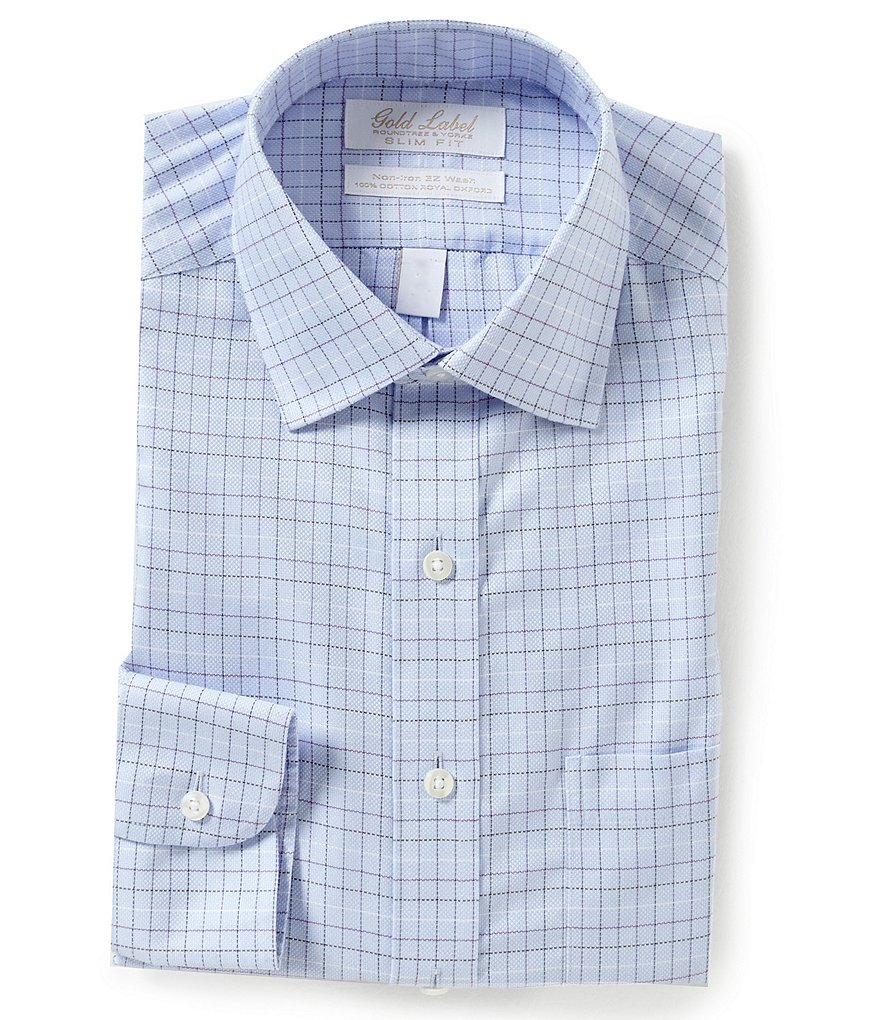 Gold Label Roundtree & Yorke Non-Iron Slim-Fit Spread-Collar Checked Royal Oxford Dress Shirt