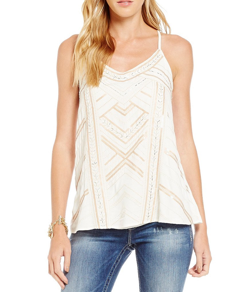 Miss Me Strappy Sequin Embroidered Camisole Top
