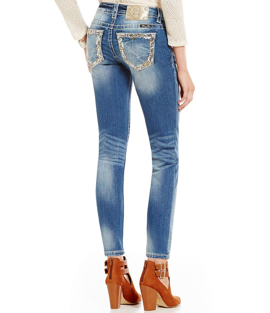 Miss Me Embroidered Pocket Faded Whiskered Skinny Jeans