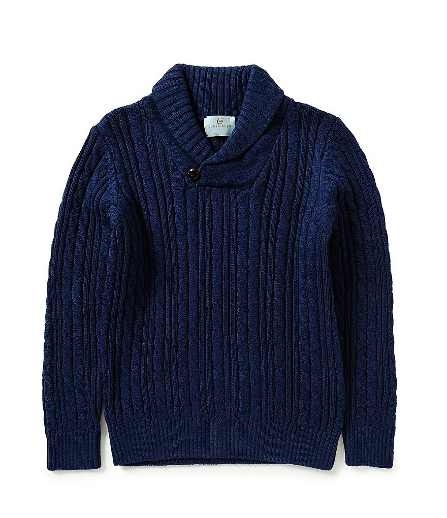 Class Club Big Boys 8-20 Shawl Collar Cable Knit Sweater