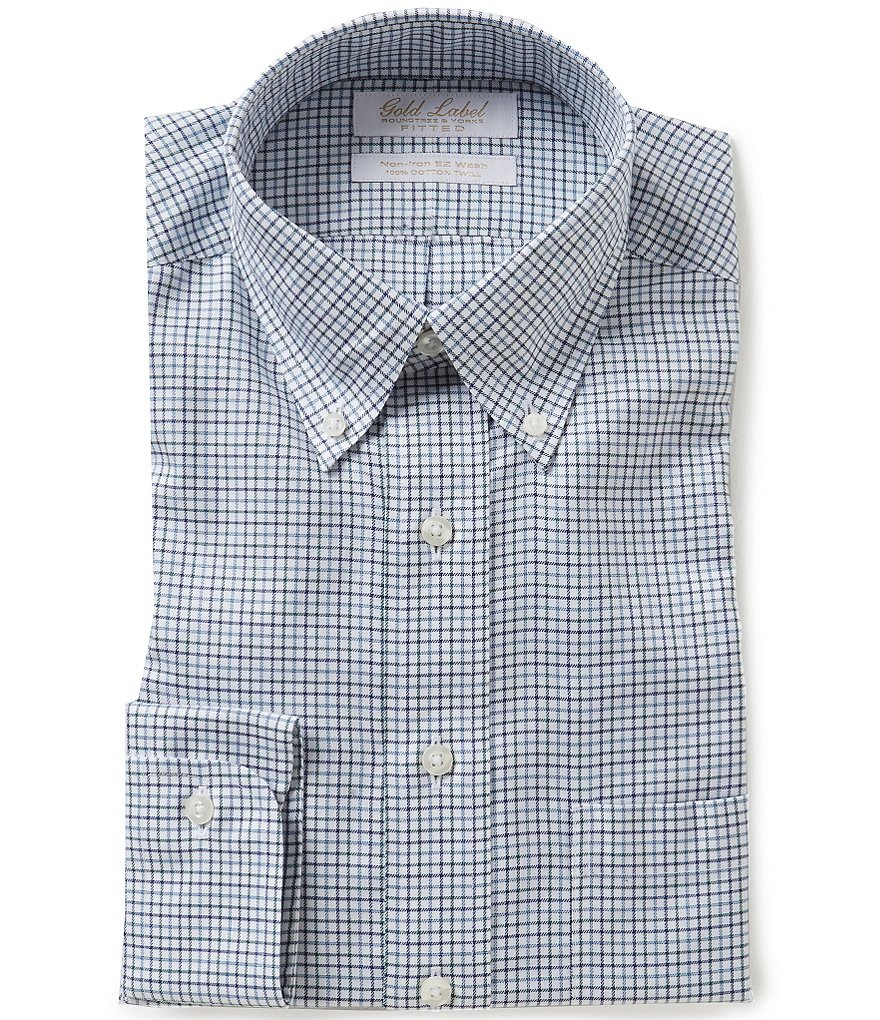 Gold Label Roundtree & Yorke Non-Iron Classic Fitted Twill Checked Dress Shirt