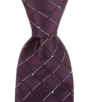 Murano Big & Tall Grid Striped Traditional Silk Tie