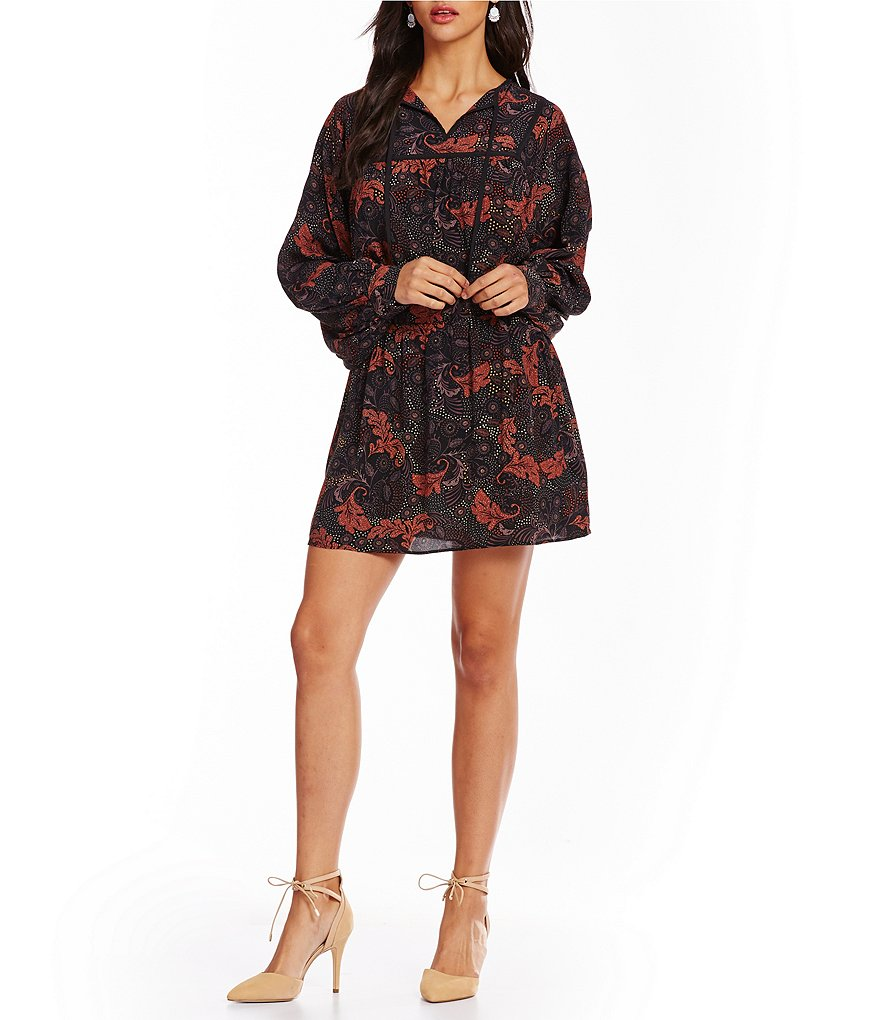 Sanctuary Belle V-Neck Long Sleeve Boho Dress