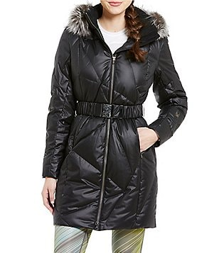 Spyder Pave Removable Hood and Belt Long Quilted Down Fox-Fur Trim Jacket