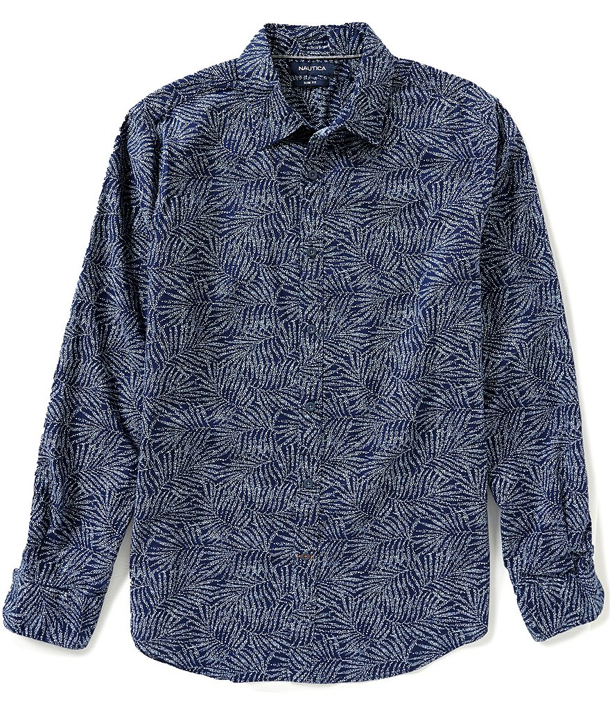 Nautica Printed Slim-Fit Chambray Shirt