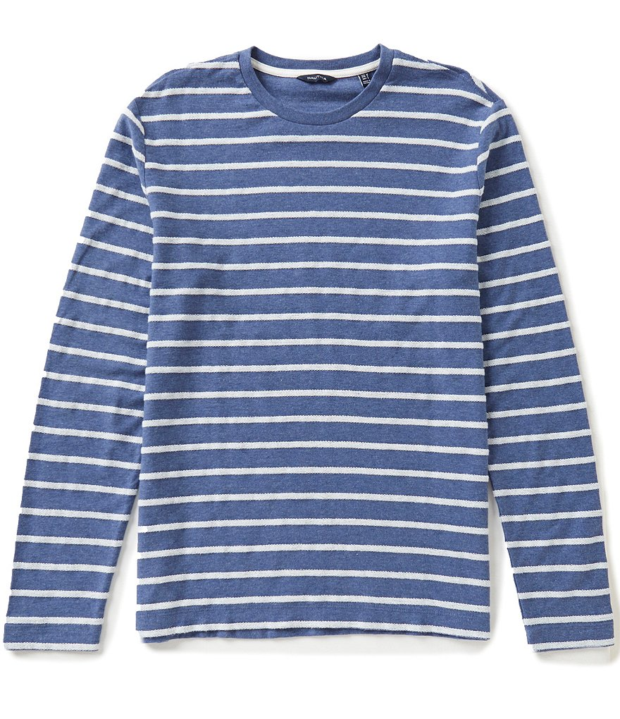 Nautica Slim-Fit Horizontal-Striped Terry Long-Sleeve Crewneck Tee