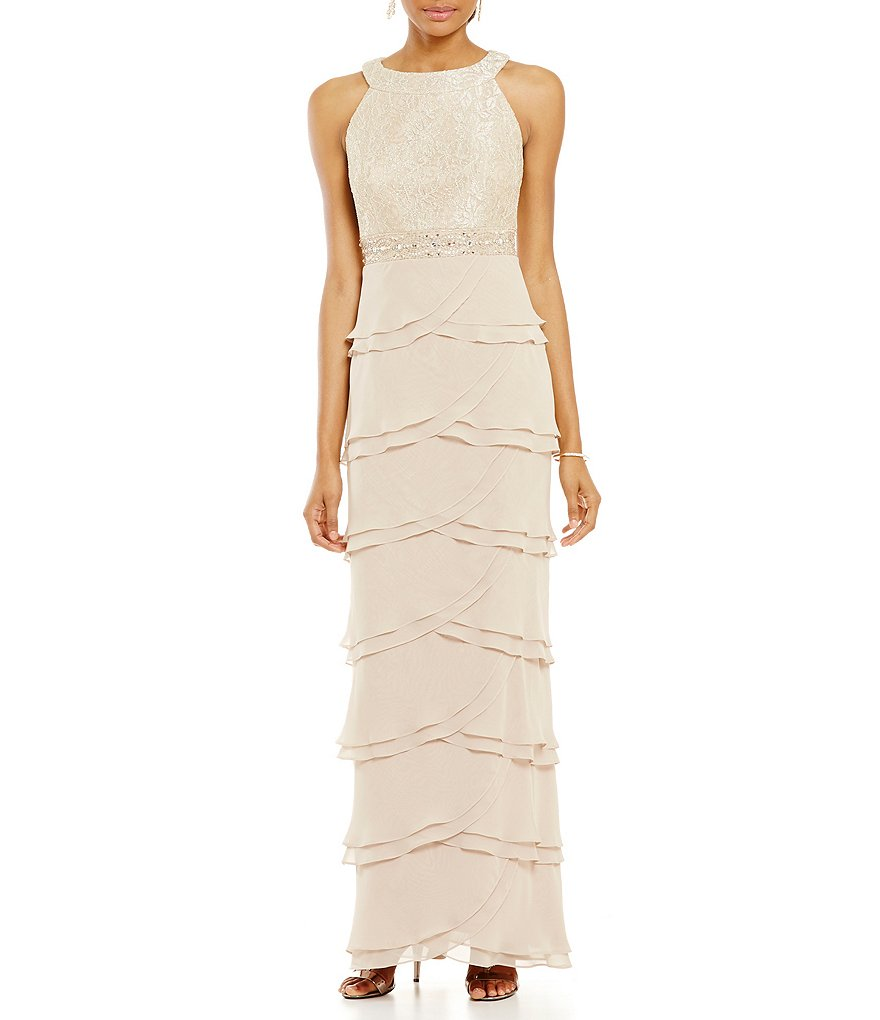Jessica Howard Lace Halter with Tiered Skirt Dress
