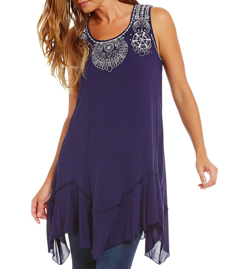 Blu Pepper Embroidered Yoke Sharkbite Tank