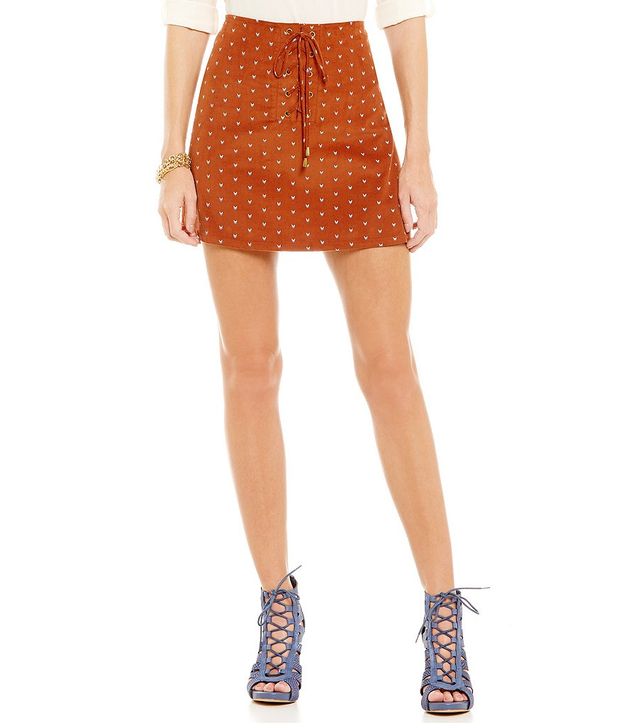 Blu Pepper Printed Lace-up Mini Skirt