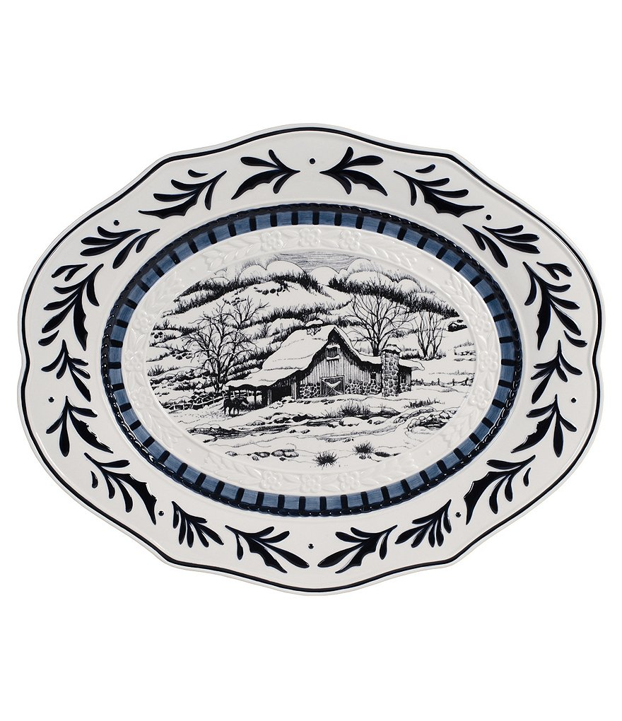 Fitz and Floyd Bristol Holiday Winter Landscape Oval Platter