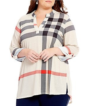 Ali Miles Plus 3/4 Roll-Tab Sleeve Stripe Print Knit Tunic
