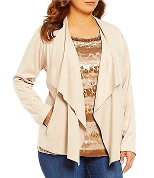 Ruby Rd. Plus Cascade Collar Open Front Faux-Suede Jacket