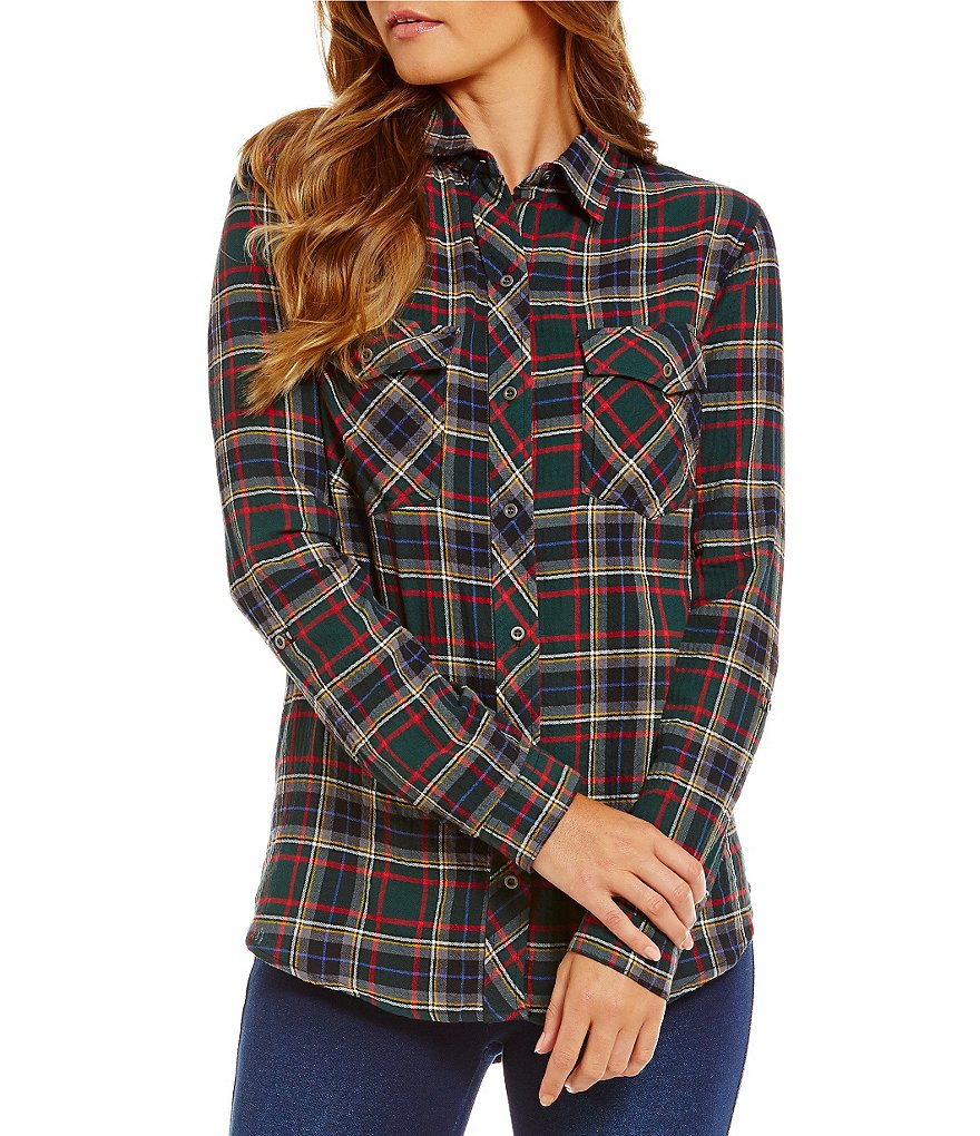 Westbound 2-Pocket Button-Front Plaid Roll-Tab Sleeve Top