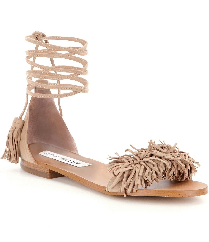 Steve Madden Sweetyy Lace-Up Fringe Sandals