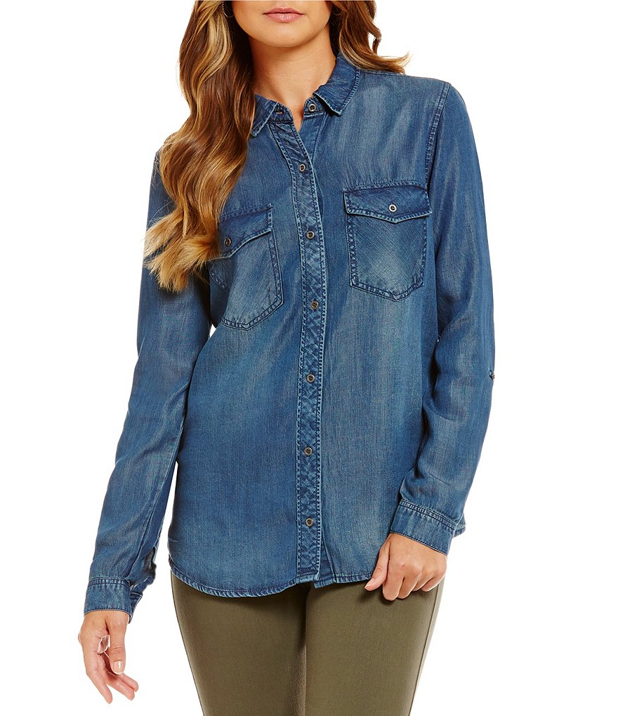 Westbound 2 Pocket Button Front Top