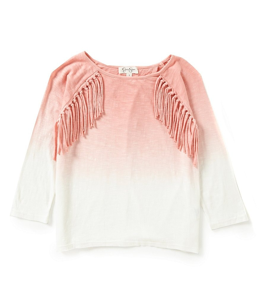 Jessica Simpson Big Girls 7-16 Cadee Fringed Ombré Top