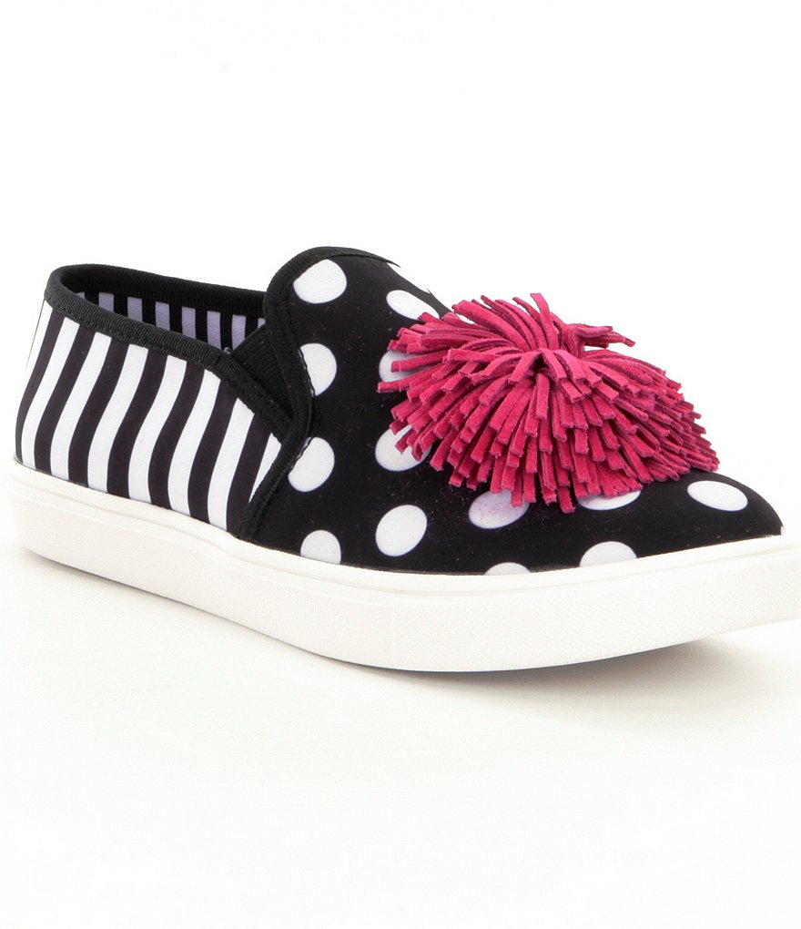 Betsey Johnson Dahni Striped & Dotted Pom Pom Sneakers