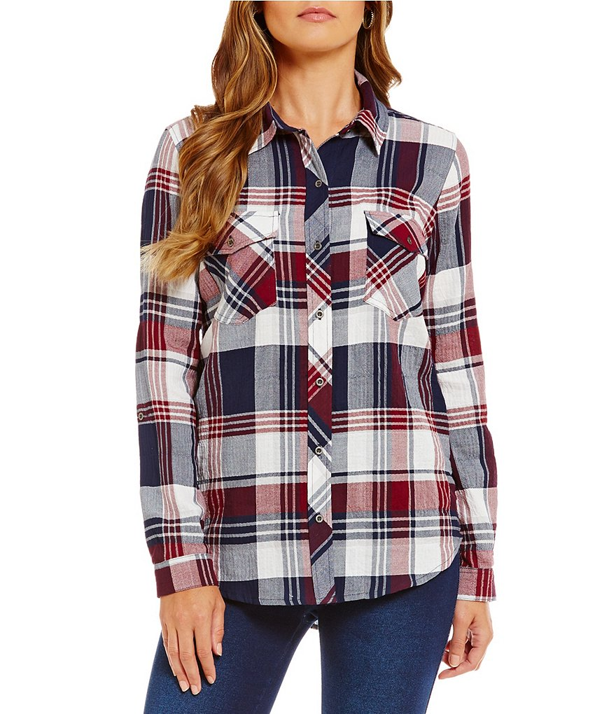 Westbound Petites 2-Pocket Button Front Plaid Top