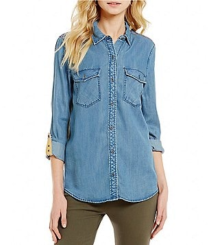 Westbound Petites Point Collar Roll-Tab Sleeve 2-Pocket Button Front Top