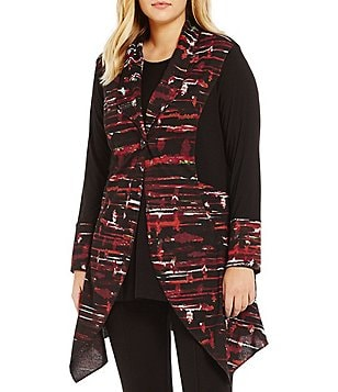 Ali Miles Plus Solid & Print Trim Jacket