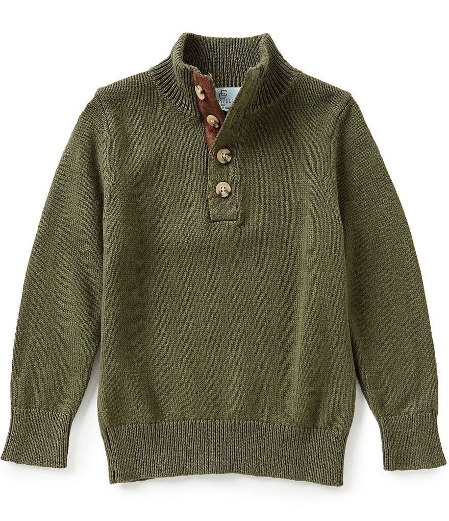 Class Club Little Boys 2T-7 Button Mock-Neck Sweater