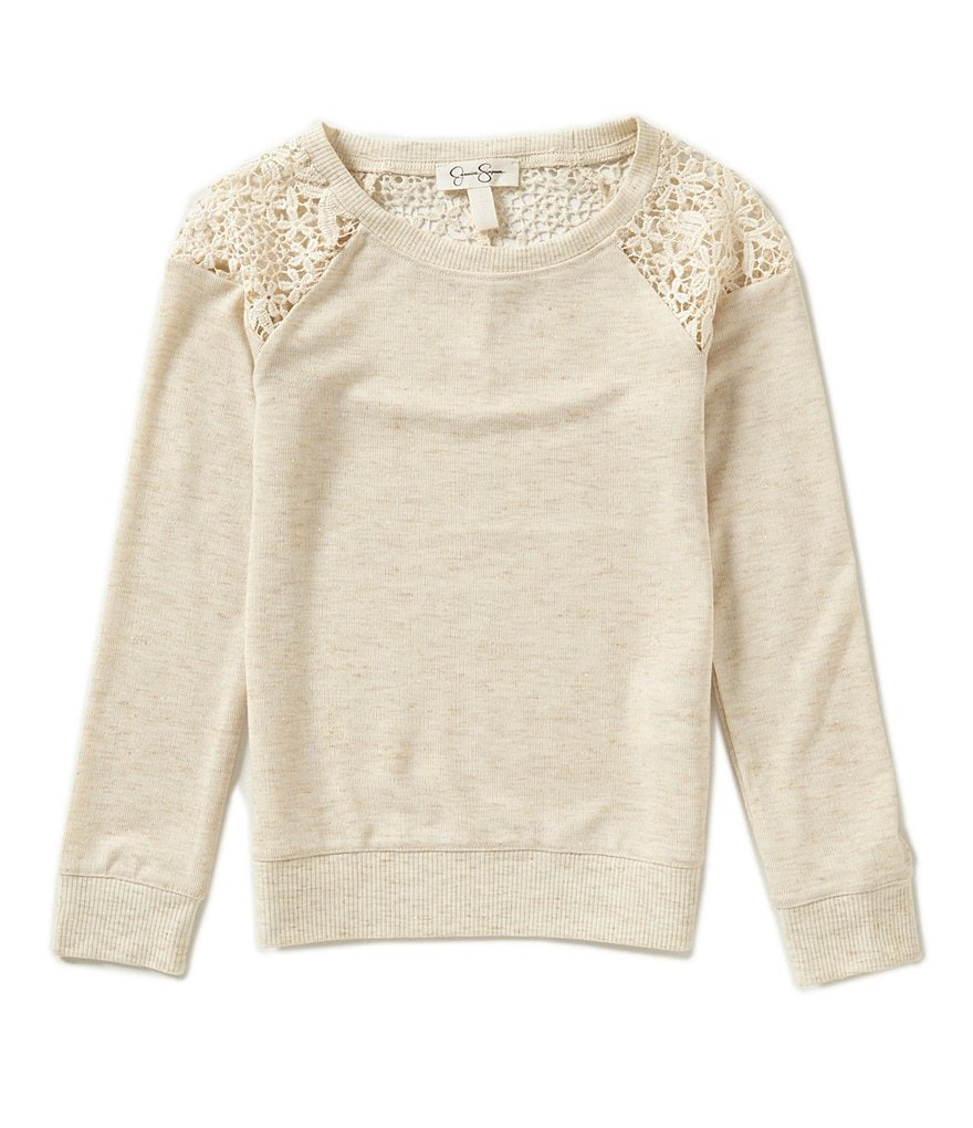 Jessica Simpson Big Girls 7-16 Kaya Lace Detail Pullover Top