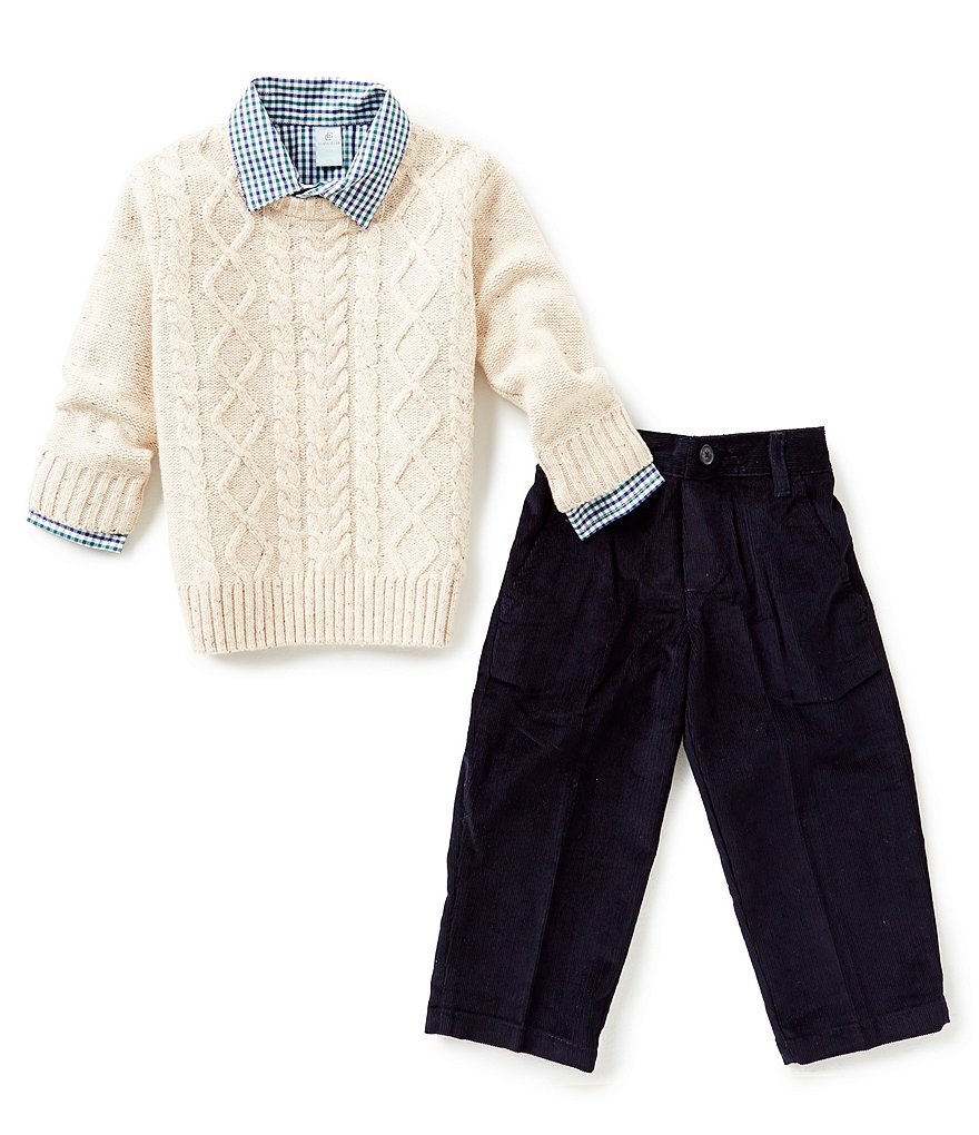 Class Club Little Boys 2T-7 Cable Knit Sweater, Check Shirt & Corduroy Pants Set