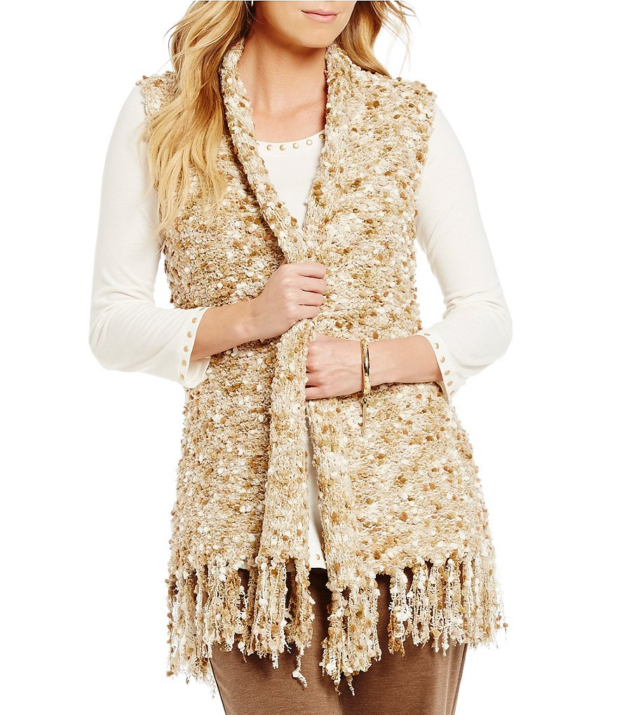 Ruby Rd. Shawl Collar Pom-Pom Boucle Sweater Vest