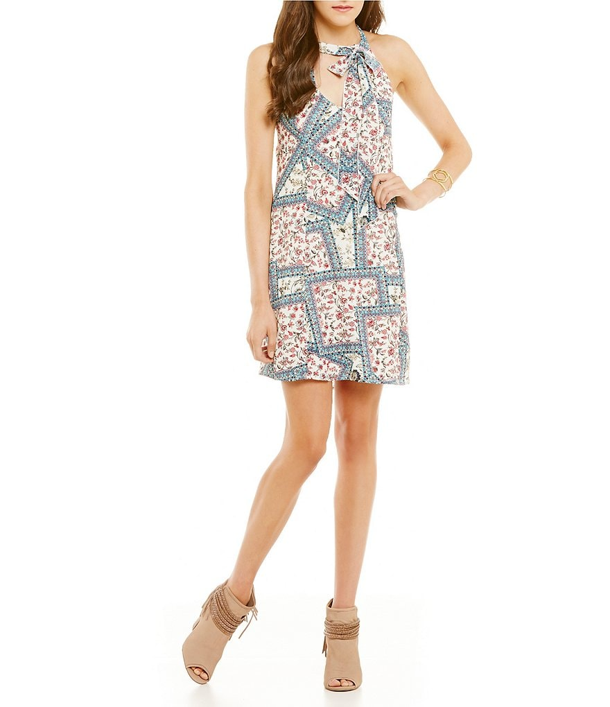 Honey and Rosie Patchwork Print Tie-Neckline Shift Dress