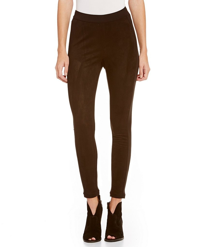 HUE Paneled Microsuede Leggings