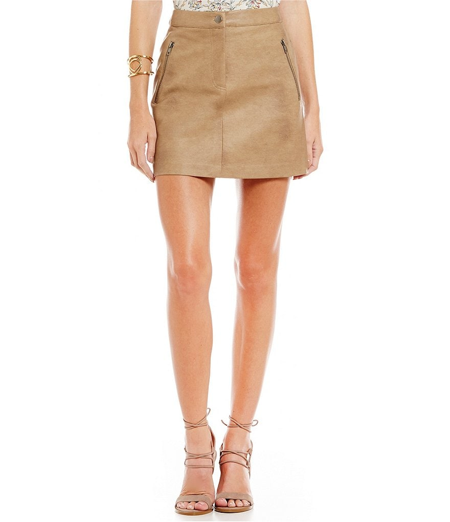 J.O.A. Faux-Leather A-line Skirt
