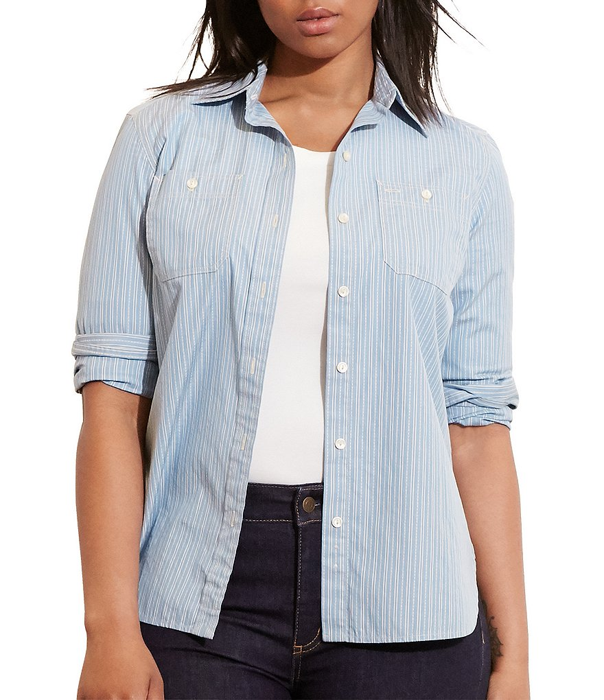 Lauren Ralph Lauren Plus Striped Cotton Dobby Shirt