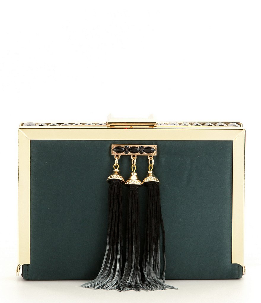 Kate Landry Stone-Inlay Frame Clutch with Ombré Tassels