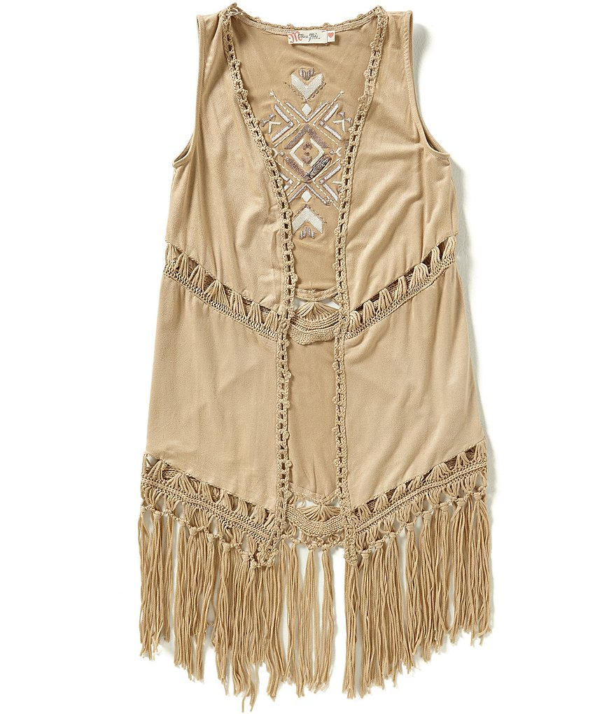 Miss Me Girls Big Girls 7-16 Fringe Tribal Cardigan