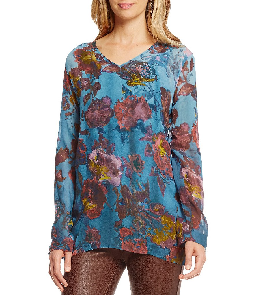 John Mark Vintage Print V-Neck Long Sleeve Blouse
