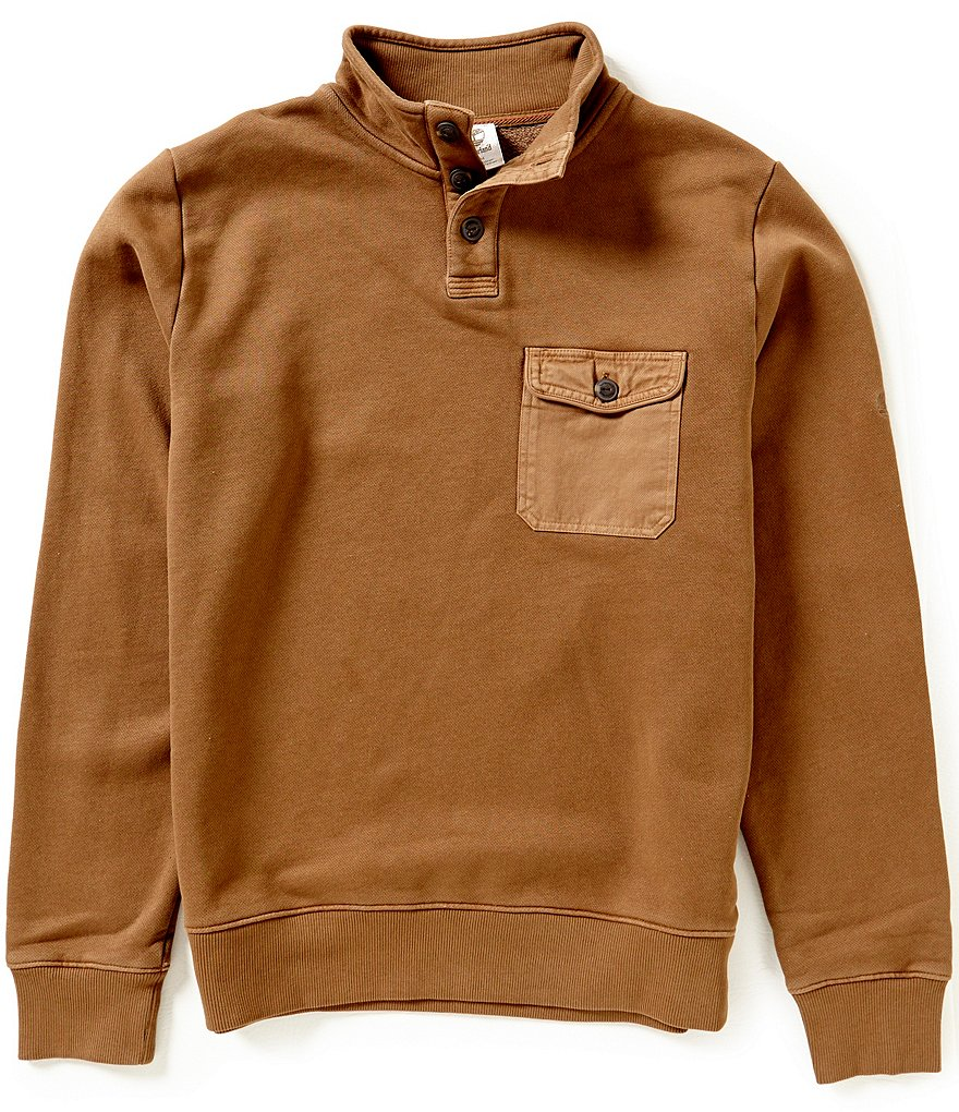 Timberland Browns Rugged Funnel Neck Elbow-Patch Sweatshirt