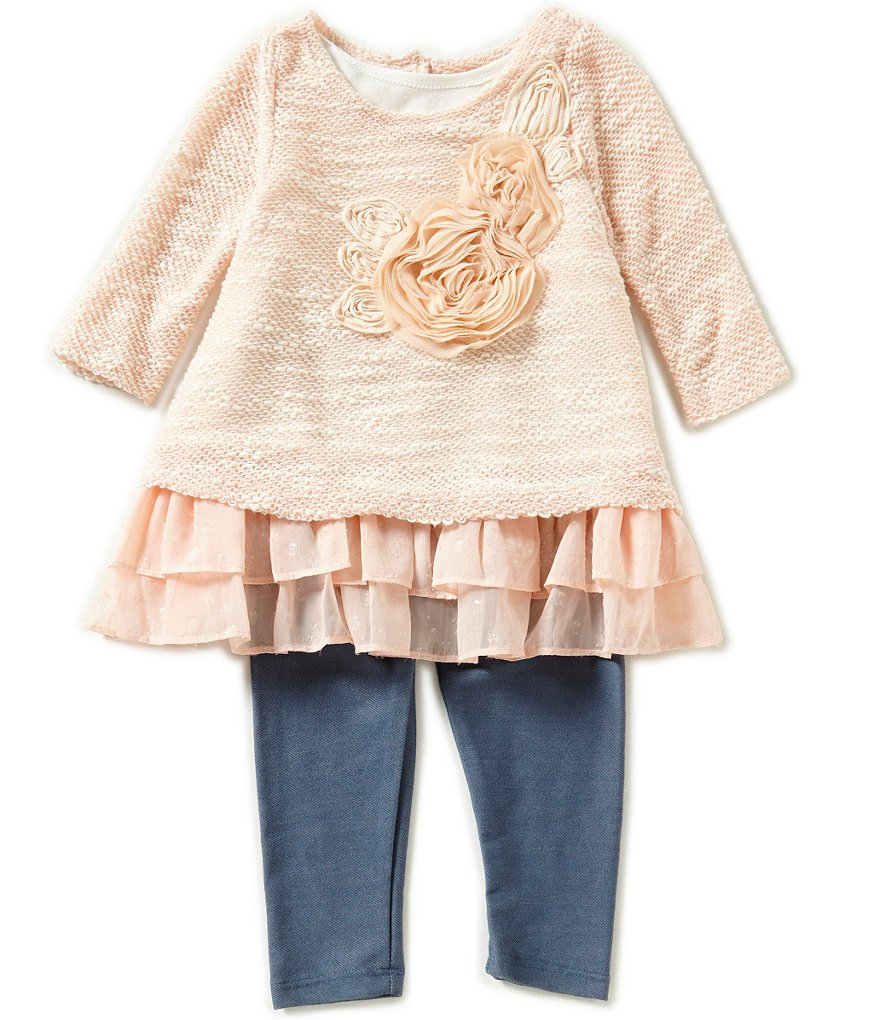Pippa & Julie Little Girls 2T-6X Textured Ruffle Top & Pants Set