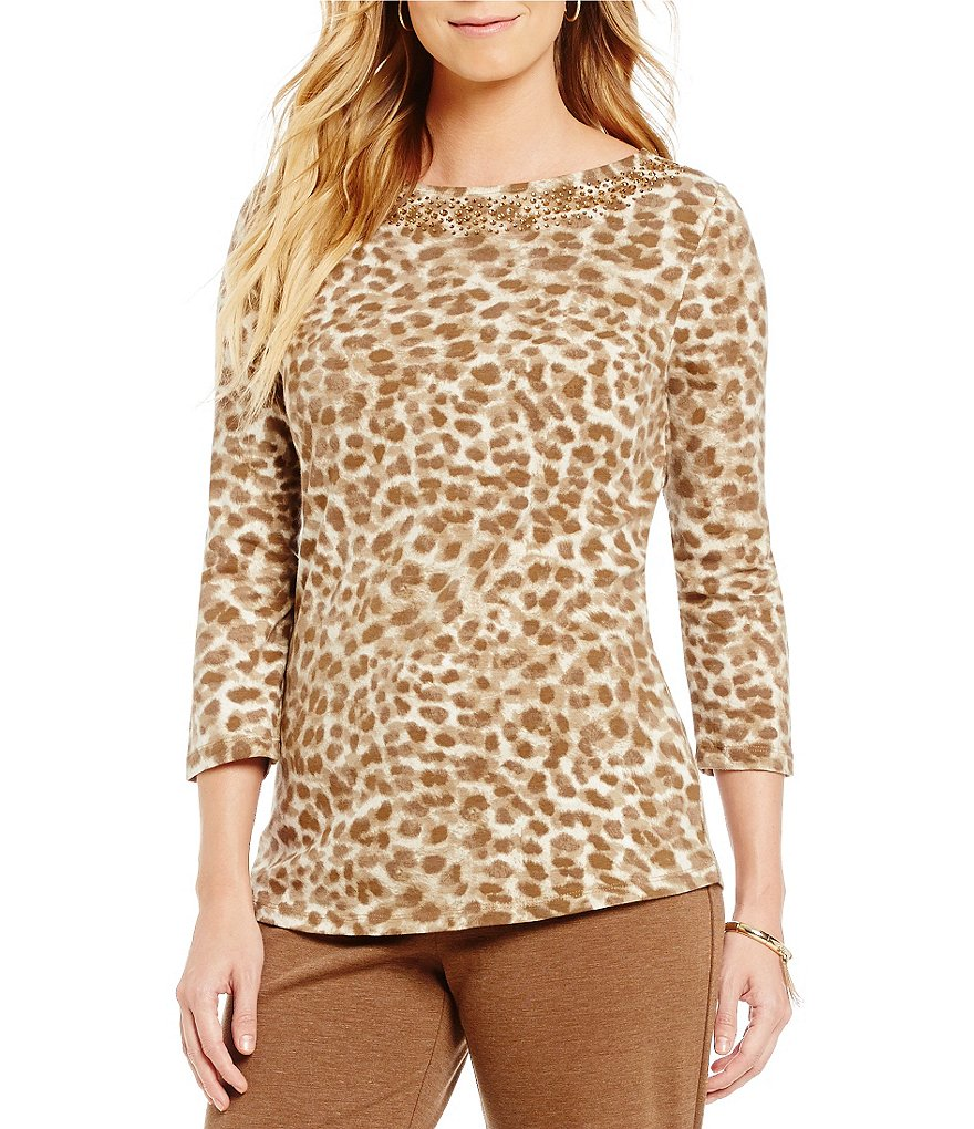 Ruby Rd. Petite Embellished Boat-Neck Brushed Spots Print Knit Top