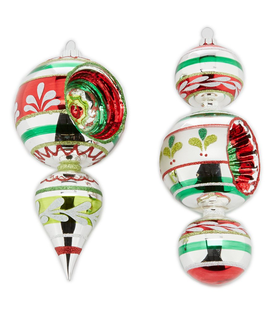 Christopher Radko Shiny Brite Holiday Splendor Decorated Shapes 2-Piece Ornament Set