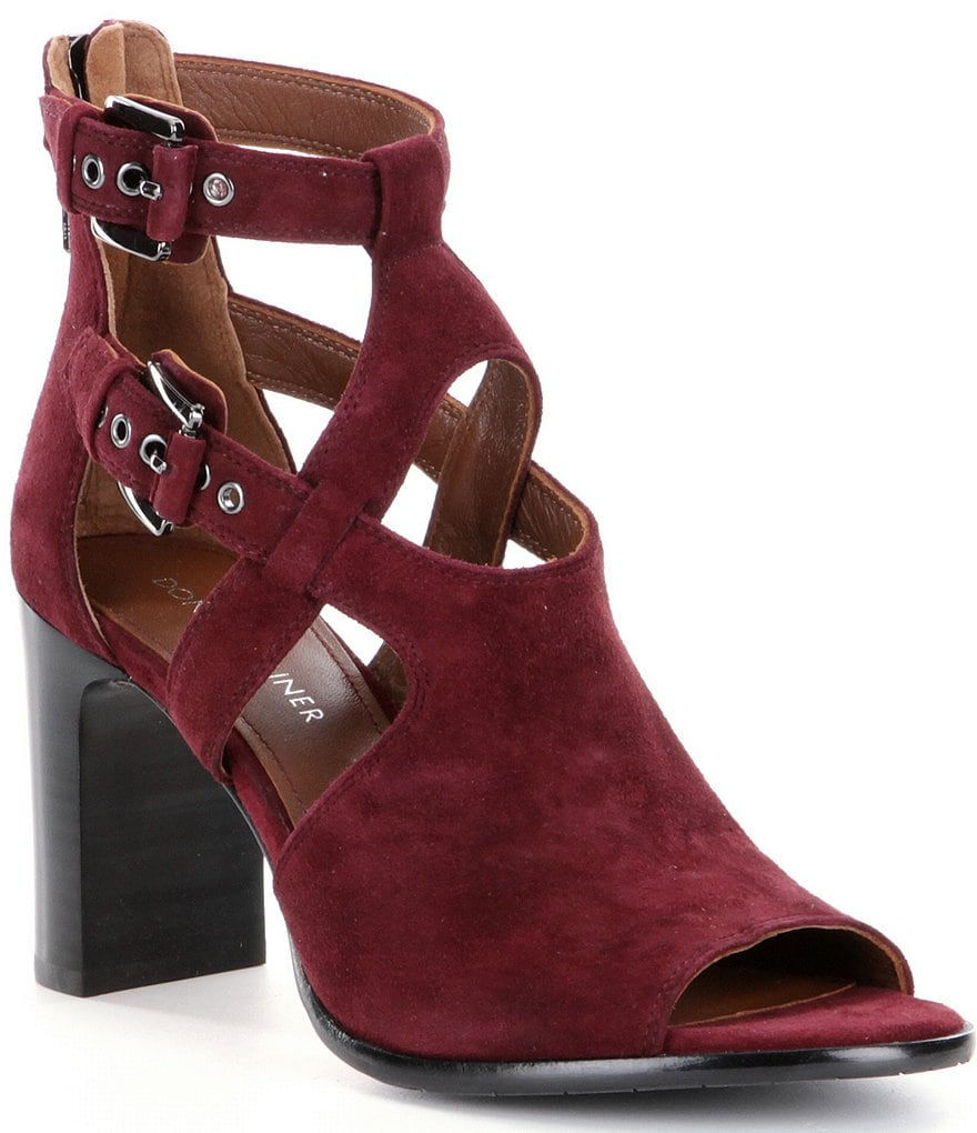 Donald J Pliner Ronnie Suede Strap & Buckle Peep Toe Shooties