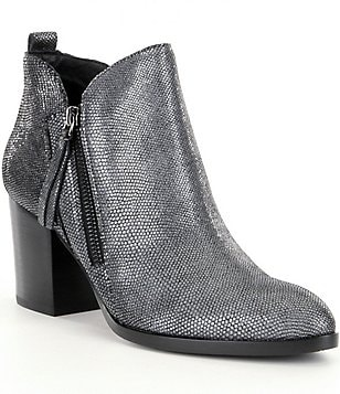 Donald J Pliner Edyn Metallic Viper Printed Side Zip Booties